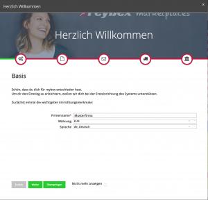 reybex-Screenshot Einrichtungswizard